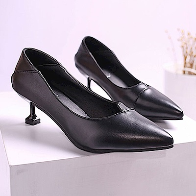 KEITH-WILL時尚鞋館 時尚元素暗香疏影細跟鞋-黑色