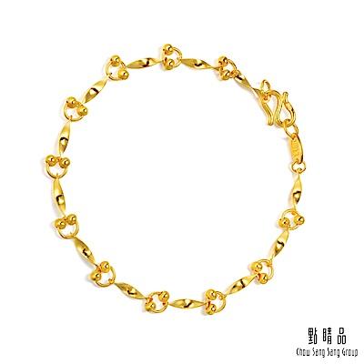 點睛品 可愛雙珠婚嫁日常配戴黃金手鍊(17cm)_計價黃金