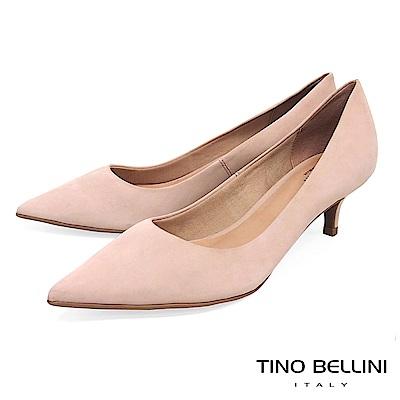 Tino Bellini 巴西進口清新純色簡約尖楦中跟鞋 _ 膚