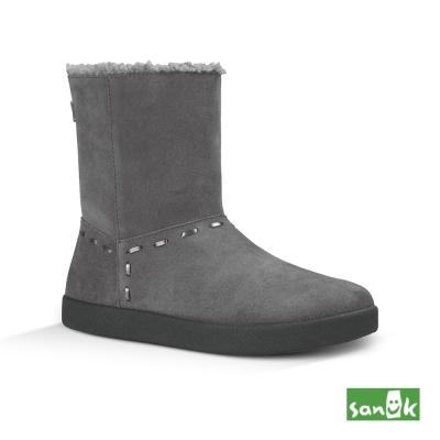 SANUK 麂皮內鋪羊毛中筒靴-女款(鐵灰色)1015711 CHRC