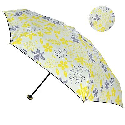 2mm 100%遮光 采漾印花黑膠降溫五折手開傘-花朵