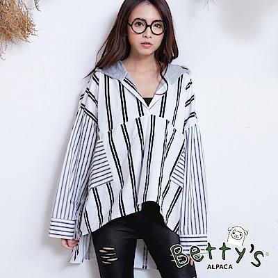 betty's貝蒂思 連帽披肩條紋寬鬆襯衫(白色) @ Y!購物