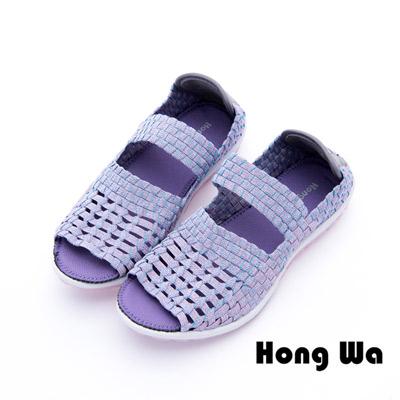 Hong Wa - 運動休閒透氣渲染編織魚口布鞋 - 紫