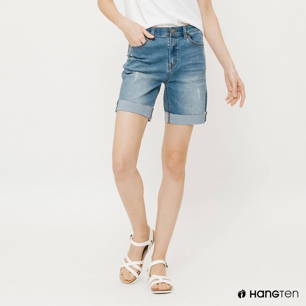 Hang-Ten-女裝-隨興反折牛仔短褲-藍