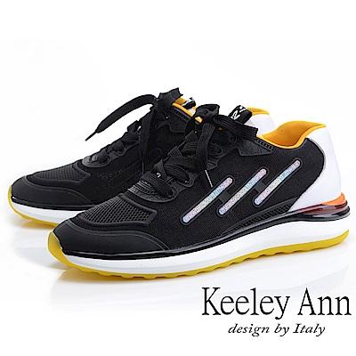 Keeley Ann 輕運動潮流 撞色疊層個性休閒鞋(黑色-Ann系列)