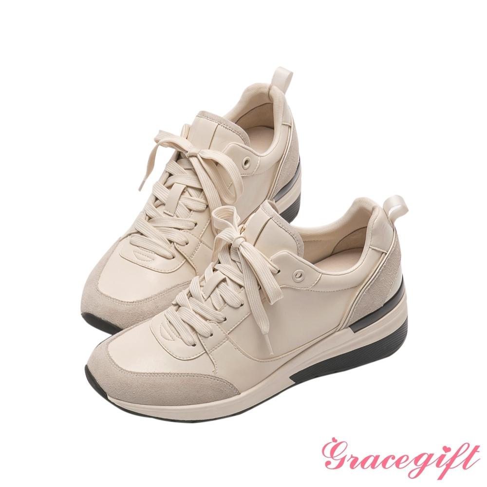 Grace gift X唐葳-聯名異材質拼接增高休閒鞋 米白