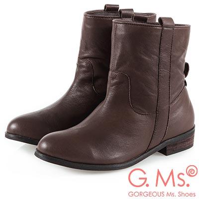 G.Ms. 牛皮素面工程短靴-咖啡