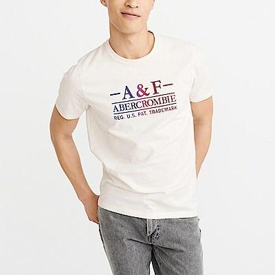 A&F 經典印刷文字設計短袖T恤-米白色 AF Abercrombie