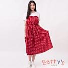 betty's貝蒂思 心型領拼接撞色圓點假兩件洋裝 (紅色)