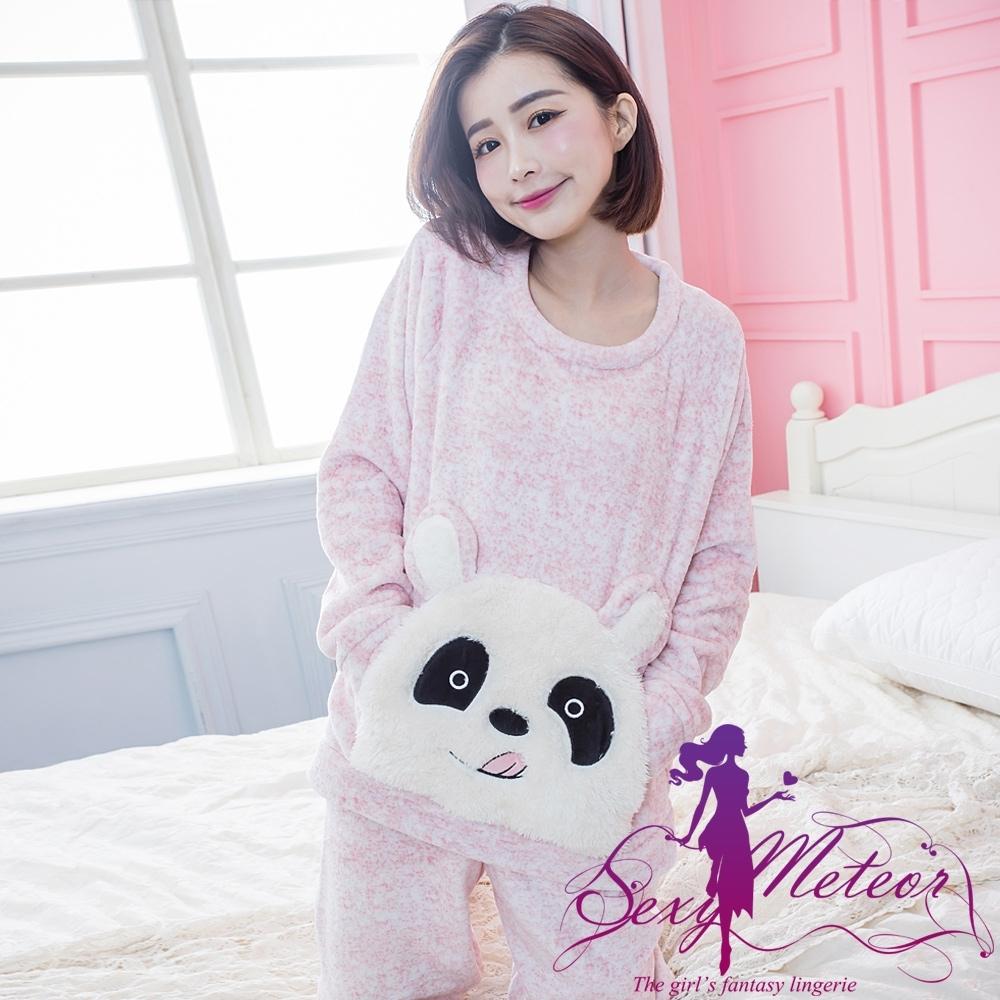 睡衣 全尺碼 熊口袋水貂絨長袖二件式睡衣組(紅粉混白) Sexy Meteor