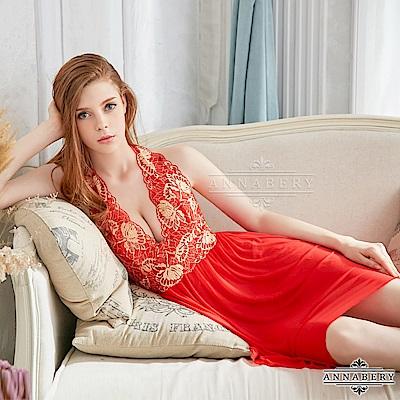 大尺碼 奢華金色緹花刺繡柔紗二件式性感睡衣 紅L-2L Annabery