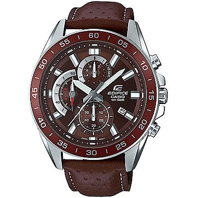 CASIO EDIFICE 帥氣酷勁計時腕錶(EFV-550L-5A)咖啡/47mm