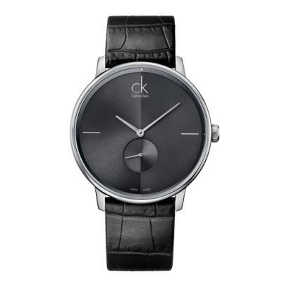 Calvin Klein 獨立小秒針皮革腕錶-40mm (K2Y211C3)