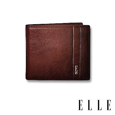 ELLE HOMME 壓紋Logo系列-6卡三折窗格真皮皮夾/短夾/零錢袋- 紳士棕