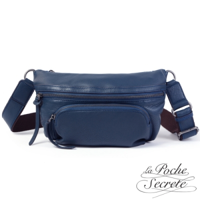 La Poche Secrete胸腰包 簡約真皮口袋胸腰包-深藍色