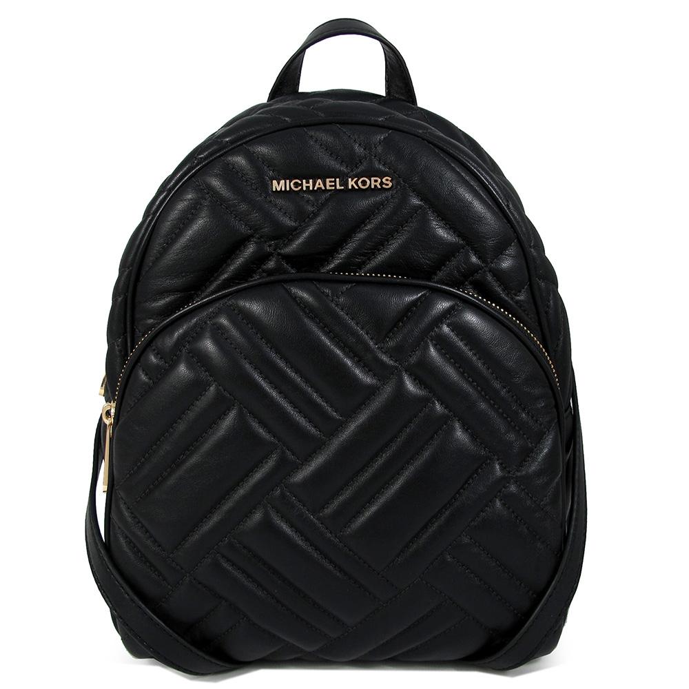 MICHAEL KORS Abbey大款 金字Logo羊皮質感绗縫山形紋前口袋雙肩後背包(黑色)