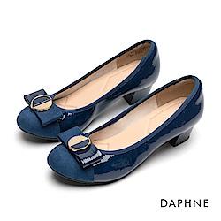 達芙妮DAPHNE 低跟鞋-優雅蝴蝶結漆皮粗跟鞋-藍