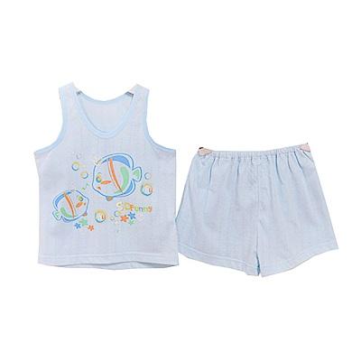 魔法Baby 小魚印花背心套裝 藍 k50460