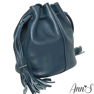 Ann'S有點帥氣時-真牛皮mini流蘇水桶包-藍