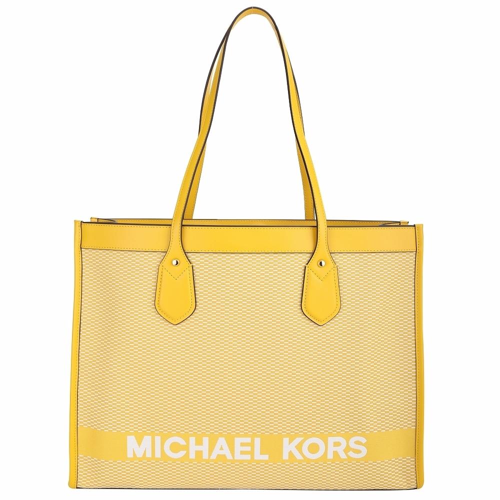 Michael Kors Bay 大款  雙色編織帆布拼接牛皮托特包(黃白色)