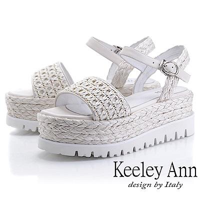 Keeley Ann簡約一字帶 牛皮編織厚底涼鞋(白色-Ann系列)