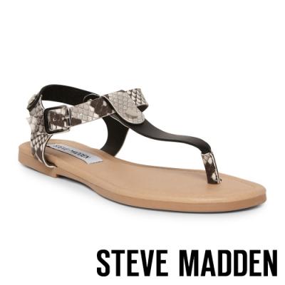 STEVE MADDEN-INTERVAL 夏日皮革扣環夾腳涼拖鞋-蛇皮黑