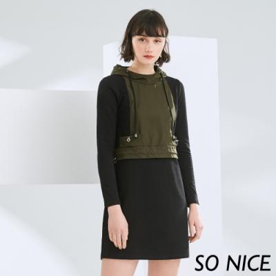 SO NICE率性運動風配色羅馬布洋裝