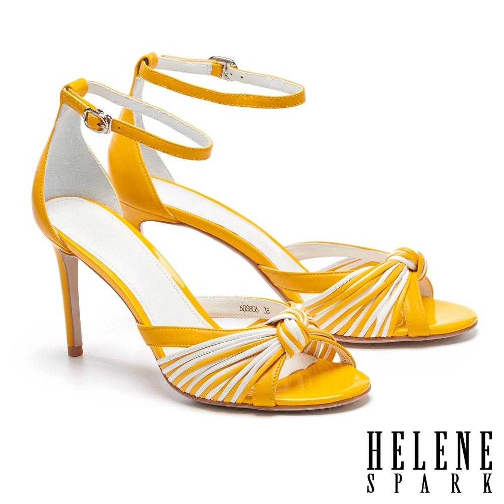 涼鞋 HELENE SPARK 艷麗盛夏撞色線條美型高跟涼鞋-黃