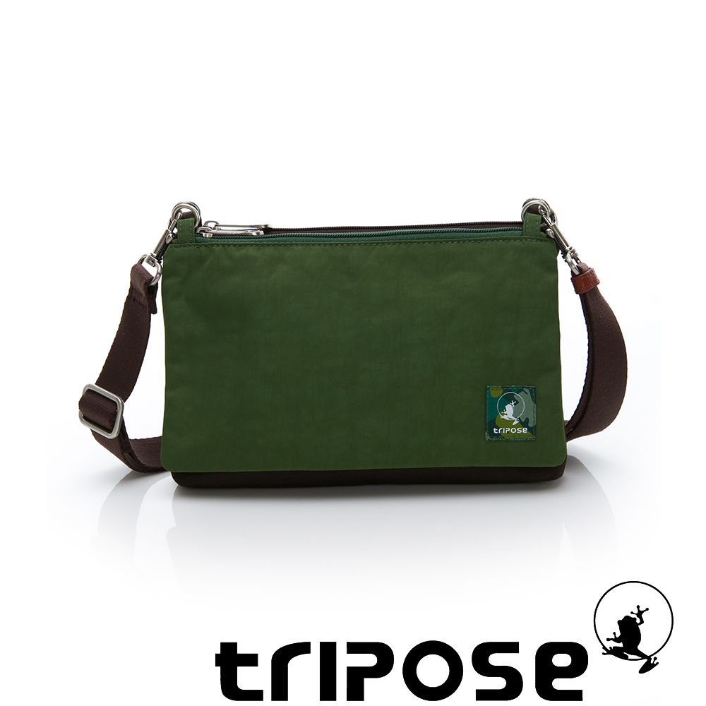 tripose MAJI系列混紡咖x 草地綠多變斜背包