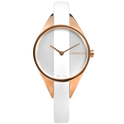 CK 細緻迷人 礦石強化玻璃 瑞士製造 皮革手錶-銀白x玫瑰金框/29m