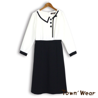 【TOWNWEAR棠葳】氣質不對稱領設計排釦洋裝