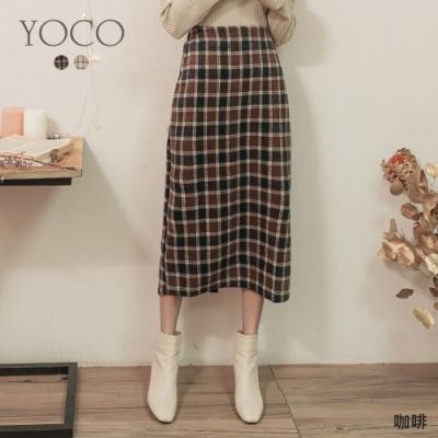 東京著衣-YOCO 拿鐵咖啡土色格紋後開岔磨毛長裙