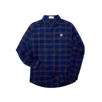 FILA 男純棉長袖襯衫-深藍 1WST-5703-DB