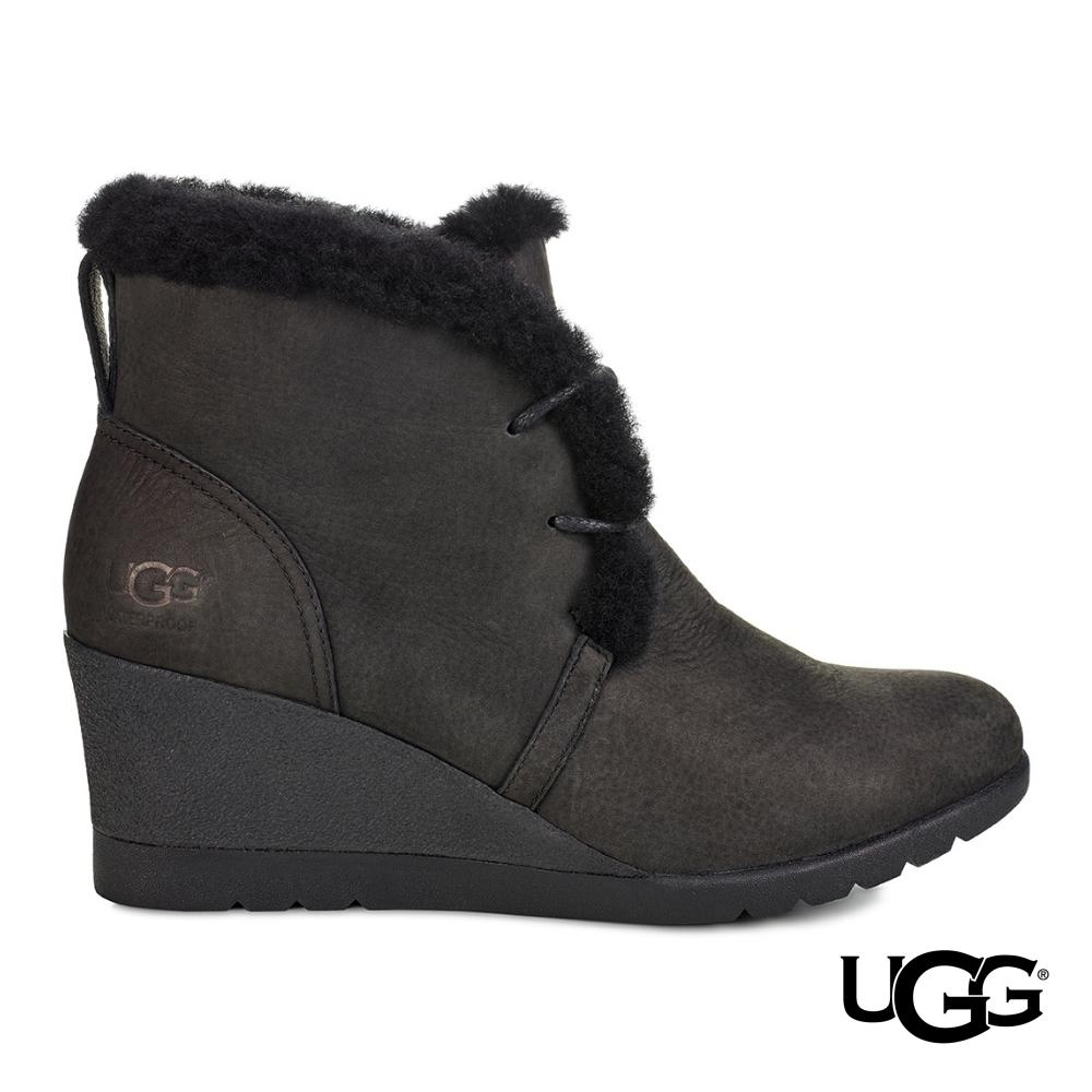 UGG短靴 Jeovana羊毛邊綁帶踝靴 皮革及踝楔型短靴
