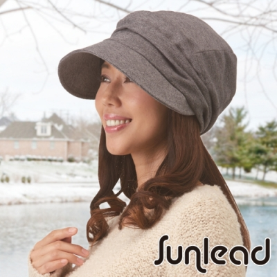 Sunlead 小顏效果。保暖防寒護髮美型貝蕾帽 (鐵灰黑)