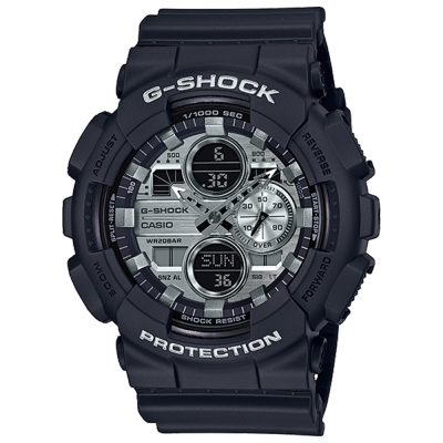 CASIO 卡西歐G-SHOCK雙顯耐衝擊構造防磁錶-銀色(GA-140GM-1A1)