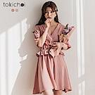 東京著衣 浪漫氣息V領縮腰魚尾設計洋裝 S.M.L(共三色)