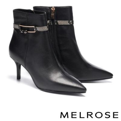 短靴 MELROSE 野性時髦飾釦蛇紋尖頭高跟短靴-黑