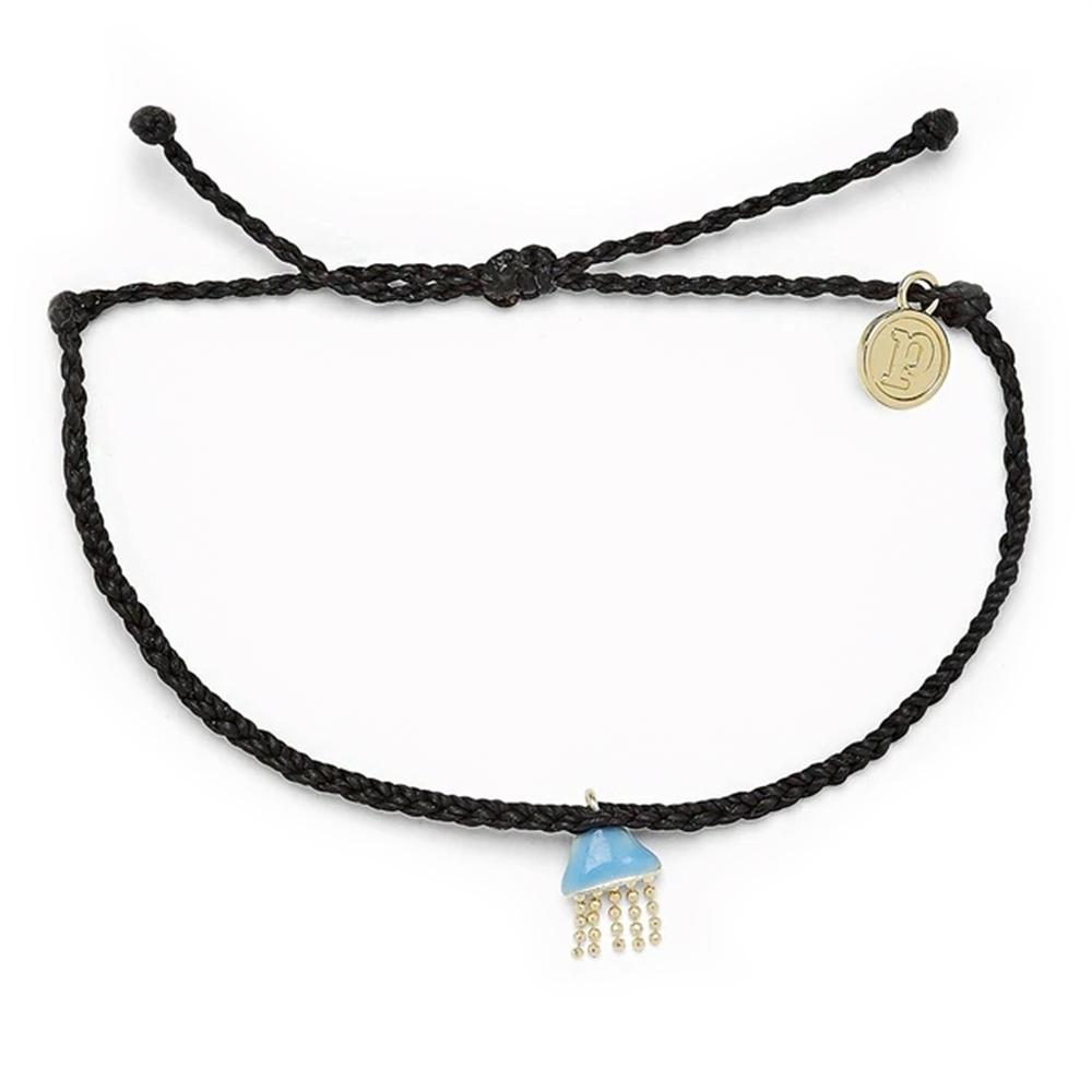 Pura Vida 美國手工 JELLYFISH CHARM 慈善系列 金色水母黑色蠟線衝浪手鍊手環
