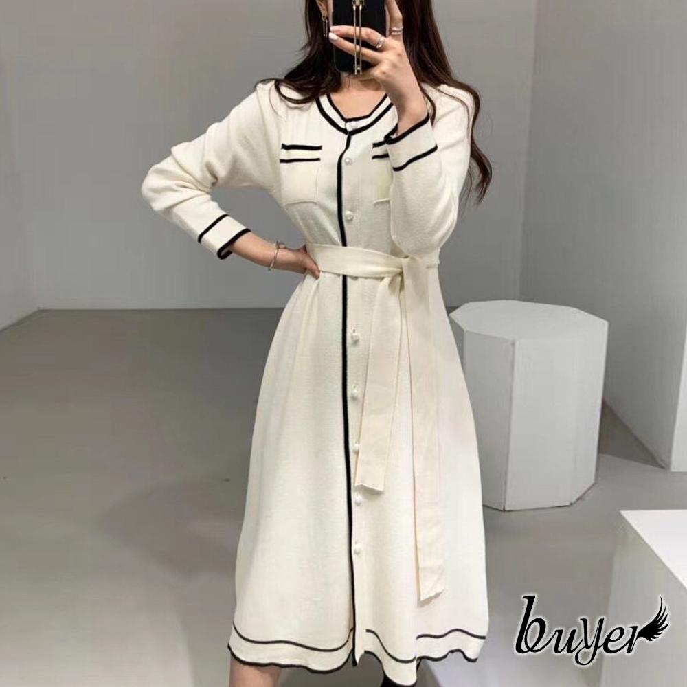【buyer 白鵝】撞色 小香風綁帶中長連身洋裝(白色)