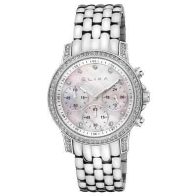 ELIXA ENJOY晶鑽三眼刻度系列 銀色錶框鍊帶錶帶手錶36mm