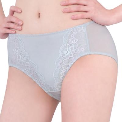 思薇爾 花蔓系列M-XXL蕾絲中腰三角內褲(汽泡灰)