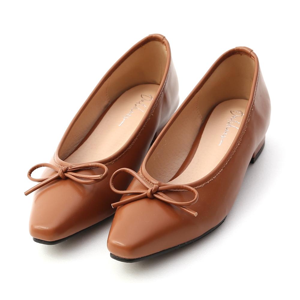 D+AF 漫步女孩.尖頭低跟芭蕾娃娃鞋*棕