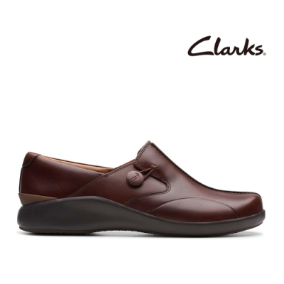 Clarks UN 全真皮厚底透氣便鞋 深棕褐色