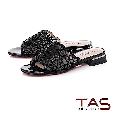 TAS 透膚感水鑽雕花涼拖鞋–時尚黑