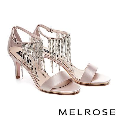 涼鞋 MELROSE 優雅迷人奢華水鑽流蘇細踝帶緞布高跟涼鞋-米
