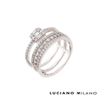 LUCIANO MILANO 環繞鋯石純銀戒指