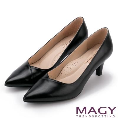 MAGY OL素雅真皮尖頭 女 高跟鞋 黑色