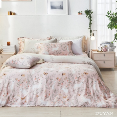 DUYAN竹漾-60支萊塞爾天絲-雙人床包被套四件組-雪兔戀語 台灣製