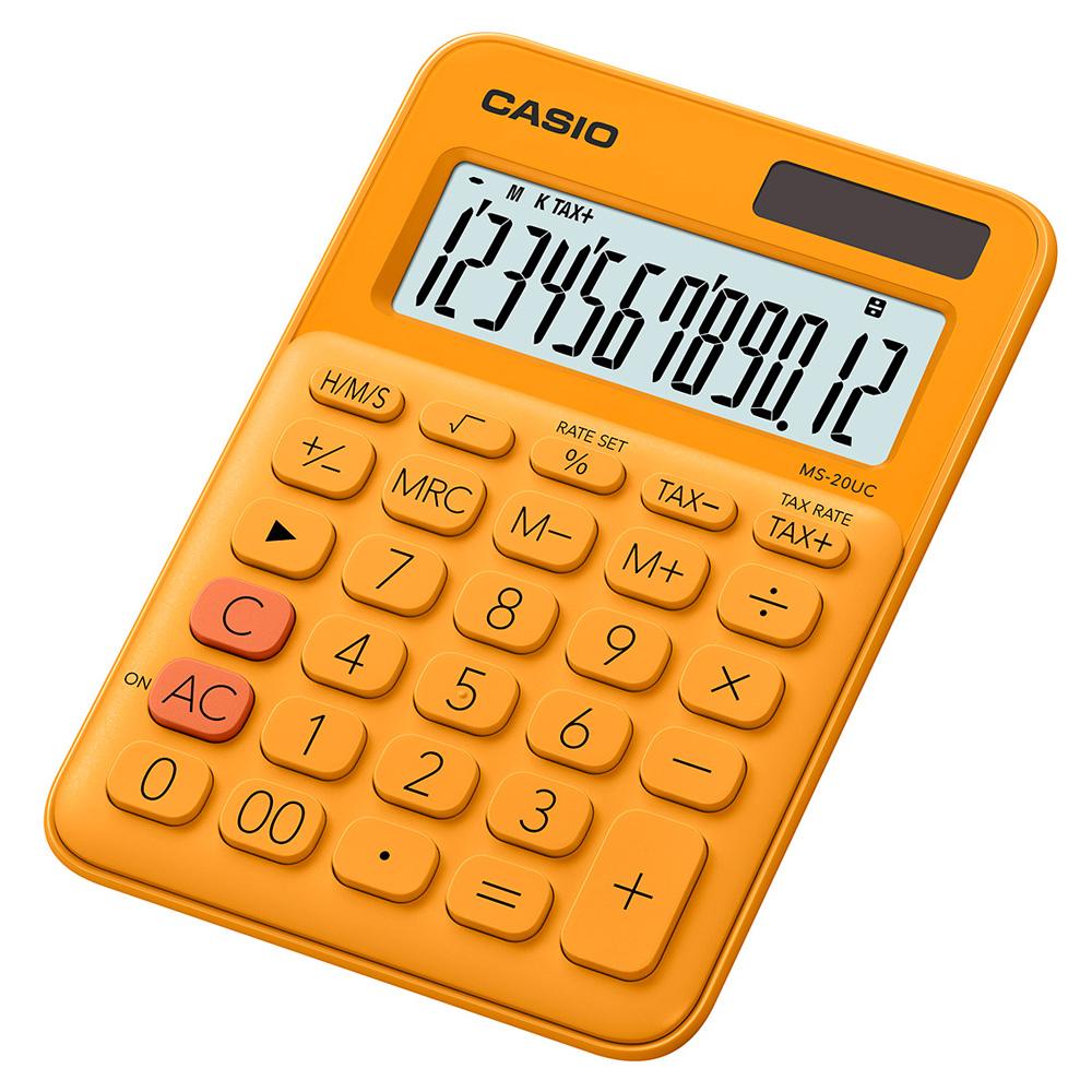 CASIO 12位元甜美馬卡龍色系攜帶型計算機(MS-20UC-RG)柳橙橘